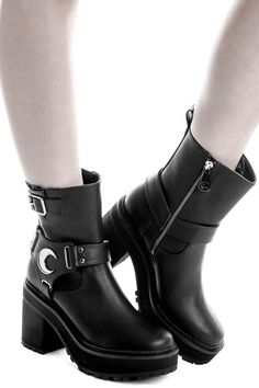 Starlight Biker Boots [B] Killstar Clothing, Gothic Boots, Goth Shoes, Star Wars, Unique Shoes, Biker Boots, Leggings, Gothic Outfits, Rubber Rain Boots