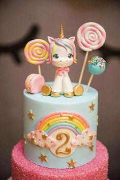 Unicorn cake I like the cake with sprinkles Pastel de unicornio Me gusta el pastel con chispas. Unicorne Cake, Cupcake Cakes, Macaron Cake, Cake Fondant, Cake Smash, Baby Cakes, Pony Cake, Unicorn Cake Topper, Unicorn Cake Design