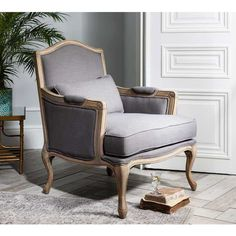 Hathaway Grey Linen Chair Lifestyle - French Bedroom Chair