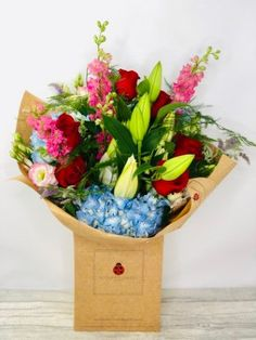 Romantic Red Rose and Hydrangea Bouquet: Booker Flowers and Gifts