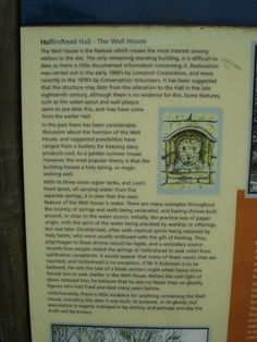 Information on the Well House, Hollinshead Hall, Tockholes, Lancashire.