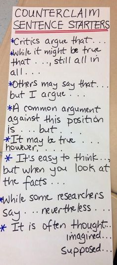 If a student disagrees or wants to counter a claim, these sentence starters are a good way to keep the discussion engaging and positive.