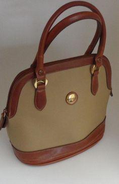 abd2ffdca557 1980 s Vintage Carryland Leather and Vinyl Canvas Satchel Tote Bag Satchel  Canvas