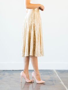 Stage Name Gold Sequin Midi Skirt | Shining star