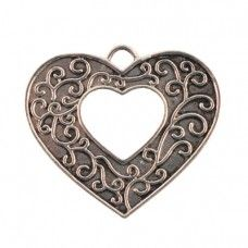 Filigree Cut Out Silver Plated Metal Heart 35x40mm-Pack of 1