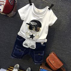 f9d157e415e4 Children s Summer 2017 New Personality Suit Children s T shirt + Boys Jeans-in  Clothing Sets from Mother   Kids on Aliexpress.com