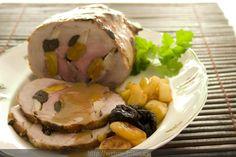Cerdo asado con orejones, manzana y ciruelas