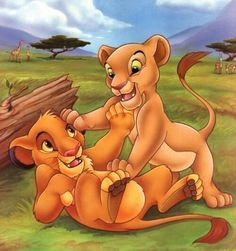Simba and Nala playing when they were cubs
