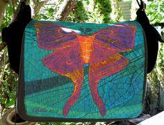 Laptop Bag  Luna Moth Nouveaux  Fiber Art  by floorartetc on Etsy, $75.00