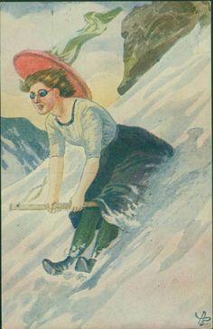 Julekort Andreas Bloch. Jente aker på sopelime. Utg Abel postgått 1915