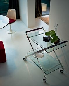 Buy the Mister Bar Trolley by Gallotti & Radice from our designer Storage collection at Chaplins - Showcasing the very best in modern design. Trolley Table, Drinks Trolley, Furniture Arrangement, Furniture Decor, Furniture Design, Kitchen Trolley Design, Metal Bar Cart, Interior Decorating, Interior Design