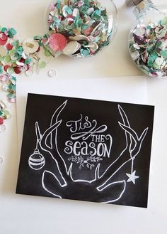 Graphic Design Ideas - Tis The Season Holiday Chalkboard Cards – Box of 8 by Lily & Val on Scoutmob S. Chalkboard Doodles, Chalkboard Drawings, Chalkboard Lettering, Chalkboard Designs, Hand Lettering, Chalkboard Ideas, Christmas Signs, Christmas Art, Christmas Decorations