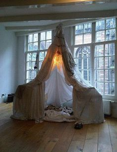 """Perhaps I will just have a """"tent room"""" in my home. Strictly for tent building. And only for serious tent builders. no half ass shite. Home Design, Interior Design, Set Design, Interior Ideas, Design Ideas, Indoor Tents, Indoor Camping, Camping Indoors, Weird And Wonderful"""