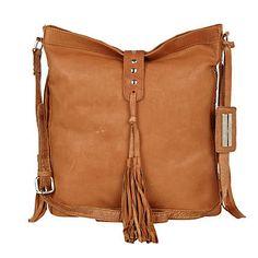 Tan leather tassel messenger bag - cross body bags - bags / purses - women