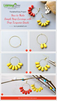 Pandahall Easy Project- How to Make Simple Hoop Earrings with Drop Turquoise Beads from LC.Pandahall.com