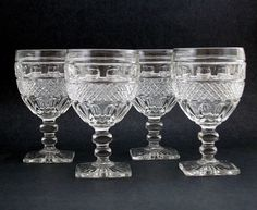 Vintage Stemware Square Foot Stemware Pressed Glass