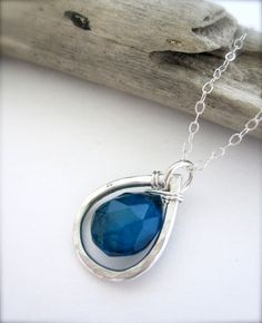 Bright Blue Teardrop Sterling Silver Necklace beachy by Tidepools