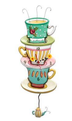 spot of tea stacked teacups saucers colorful whimsical resin kitchen dining room wall clock pendulum michelle allen designs