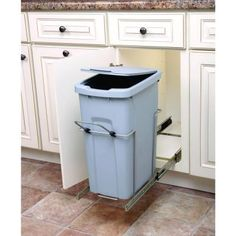 Real Solutions 9.625 in. x 18.8125 in. x 20.125 in. In Cabinet Pull Out Single Soft-Close Trash Can-BLSC10-1-35-R-P - The Home Depot