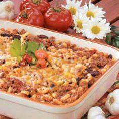 My husband loves Chili Mac and he says this is by far the best he has ever had (with the following changes). I add a second cup of noodles; use 1lb lean hamburger and 1lb ground turkey; use two cans of the Rotel diced tomatoes with green peppers instead of buying them separately; and I add a can of sweet corn. I follow the recipe for the rest of the seasonings and such.