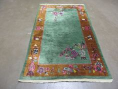 3' X 5' Antique 1920s Hand Made Chinese Art Deco Walter Nicholas Wool Rug Nice  #Chinese