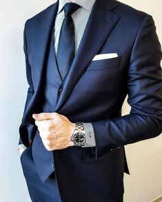 visit our website for the latest men's fashion trends products and tips . Classy Suits, Classy Men, Estilo David Beckham, Blue Suit Men, Navy Suits, Groom Suits, Groom Attire, Designer Suits For Men, Men's Fashion Styles