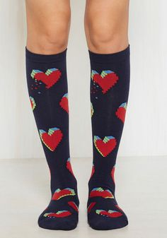 Every Cyber of My Being Socks - Blue, Red, Multi, Print, Valentine's, Knit, Good