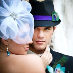 A dramatic peacock themed wedding photo shoot by Christy Whitehead Photography.