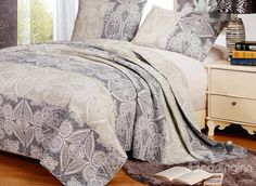 New Arrival Elegant Gray Floral Patterns Bed in a Bag Sets Bed In A Bag, Floral Patterns, 3 Piece, Comforters, Blanket, Gray, Bedroom, Elegant, Bedding