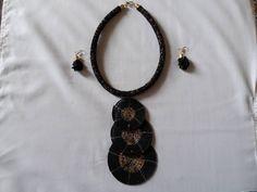 Black Earrings, Black Necklace, Necklace Set, Women's Earrings, Rope Jewelry, Tribal Jewelry, Beaded Jewelry, Beaded Necklace, African Beads Necklace
