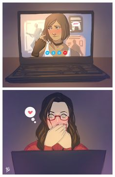 "Korrasami Week - Hair + Internet (Girl)Friends (AU)Korra being shy about her new haircut and Asami having an ""Oh no she's cute."" moment."