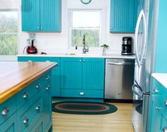 Bold and Blue kitchen - Was looking for something diffenet to do in my kitchen!  Don't normally care for white walls, but.......