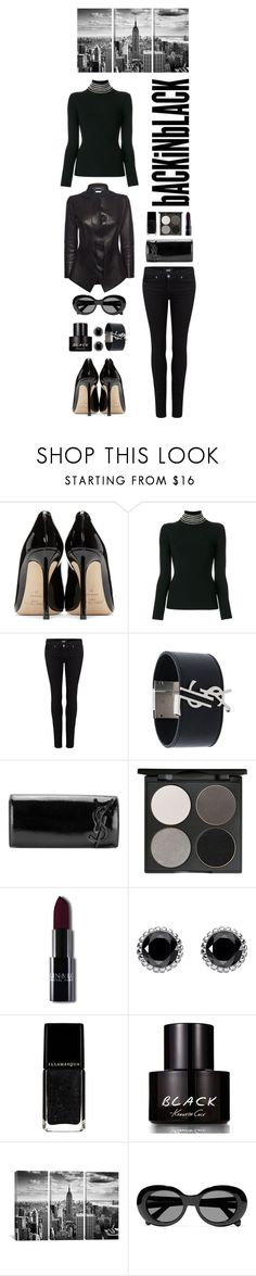 """Monochrome: All Black Everything"" by shortyluv718 ❤ liked on Polyvore featuring Jimmy Choo, Alexander Wang, Paige Denim, Yves Saint Laurent, Gorgeous Cosmetics, Thomas Sabo, Kenneth Cole, Acne Studios, Alexander McQueen and allblack"