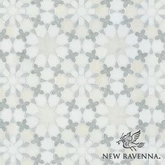 Granada, a natural stone waterjet mosaic shown in Heavenly Cream honed, Ming Green, Carrara, Thassos polished marbles is part of the Miraflores Collection by Paul Schatz for New Ravenna Mosaics. Floor Patterns, Tile Patterns, Textures Patterns, Bathroom Floor Tiles, Wall Tiles, Tile Floor, Kitchen Floor, Kitchen Backsplash, Amy's Kitchen