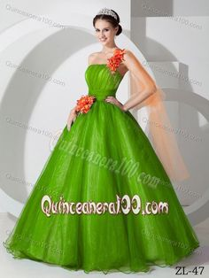 0fcaa963e59 Best Hand Made Flowers One Shoulder Sweet 15 Dresses in Green Sweet 15  Dresses