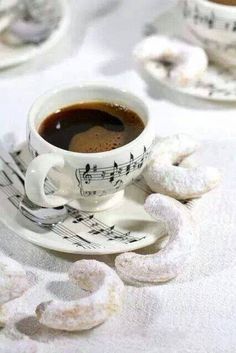 Musical Notes Cup & Saucer in Black & White ~ Ana Rosa