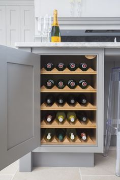 Lewis Alderson & Co, Hampshire Kitchen. A tailored kitchen brings your inspiration to life allowing you to personalise even the minutest details, including this solid oak interior drinks cupboard. Kitchen Dresser, Kitchen Board, Diy Kitchen, Kitchen Design, Kitchen Ideas, Cupboard Storage, Wine Storage, Alcove Bookshelves, Traditional Kitchen Inspiration