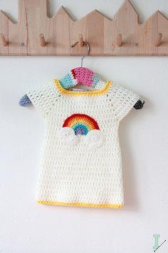Crochet baby dress  Rainbow and clouds por idalifestyle en Etsy