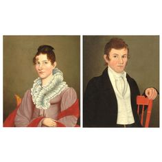 Pair of Folk Portraits by Possibly Ammi Phillips   From a unique collection of antique and modern paintings at https://www.1stdibs.com/furniture/folk-art/paintings/