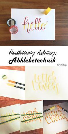Mit dieser Handlettering Anleitung kannst du ganz einfach ein zweifarbiges Lettering gestalten. Du brauchst einfach ein Maskingtape und kannst schon los legen.
