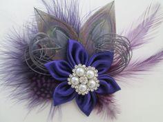 #Purple #Silver #Wedding #Hair #Clip #Fascinator #HairAccessory #BridalHair #WeddingHair #SilverPeacockFeathers #peacock #Feathers #GreatGatsby #Flapper #Roaring20s by NakedOrchidGarters @BridalTweet Wedding Community @wedding chicks