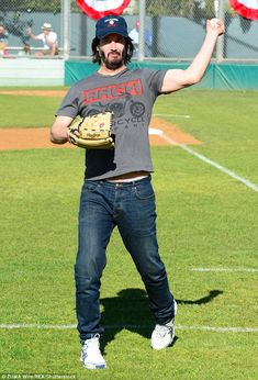 Team player! The John Wick star donned a blue cap in support of his local PONY baseball te...