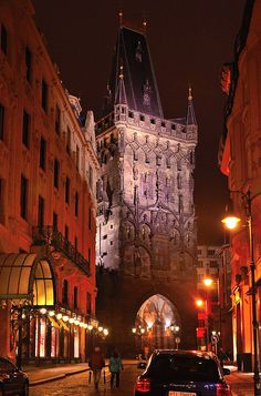 "Gothic tower in Old Town called ""Powder Tower"", Prague, Czechia  The Powder Tower bears its name because of the gunpowder, that used to be stored there since the 18th century. The tower was damaged by shooting of the Prussian army in 1757. Many decorative sculptures were damaged and later removed. #night #prague #czechia #gothic"