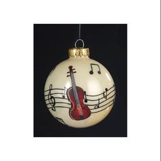 "Royal Symphony Violin and Music Note Glass Christmas Ball Ornament 3.25"" (80mm) - Walmart.com"