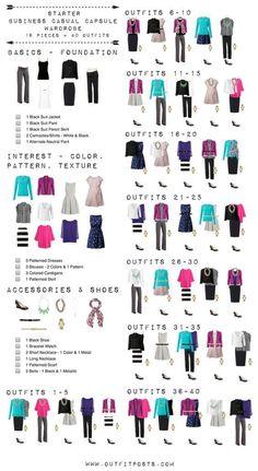 This checklist is a good template for a basic starter work wardrobe. #wardrobebasicsforwomen