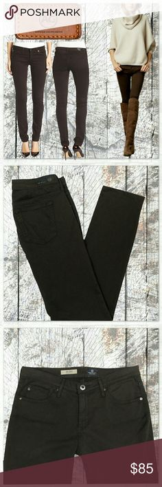 """💋AG Adriano Goldschmied  Stilt Cigarette leg jean Size 29 Adriano Goldschmied ' the Stilt Cigarette Leg' skinny stretch, mid rise jeans. The color is Oak, a deep chocolate brown. Inseam 30"""" see last photo for more measurements and details.  Photos 2 - 5 are of the actual item for sale.  Excellent condition! NO TRADES PLEASE! REASONABLE OFFERS WELCOME THROUGH OFFER FEATURE ONLY PLEASE!  21317 AG Adriano Goldschmied Jeans Skinny"""