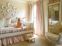baby girl bedroom themes bed wall decorations pillows bedding tall mirror armchair steps beige floors window curtains traditional design of Fabulous Baby Girl Bedroom Themes to Adopt Pink Bedroom Design, Pink Bedroom For Girls, Teen Girl Bedrooms, Little Girl Rooms, Pink Bedrooms, Bedroom Themes, Bedroom Sets, Bedding Sets, Daybed Bedding