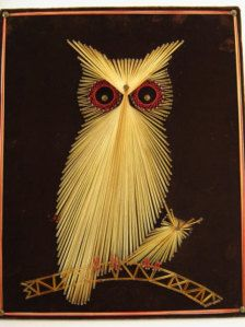 What a find! This is the coolest Owl String Art Ive seen since the 70s. Brown velvet (see the tiny rust and brushed flaws in photos) stretched across a wooden base, with red and beige string attached tightly from each corner with upholstery tacks. Tiny nails form the base of the artwork, which is intricately woven from one to the next. The mommy owl is standing on a branch with the baby owl. Overall size is approx. 15 1/2 x 20.    This item is from a smoke-free environment.