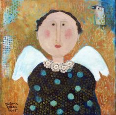 Louisa is a new angel I just finished, she seems very sweet and motherly! mixed media 12x12 on canvas ©Barbara Olsen