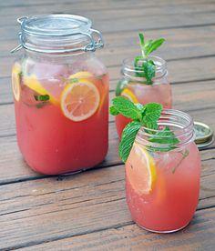 5 Summer Drinks with Watermelon...boozy watermelon mint lemonade...